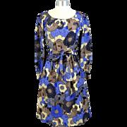 Vintage 1970s Givenchy Nouvelle Boutique Psychedelic Floral Silk Dress