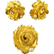 Vintage 1960s De Nicola Goldtone Rose Brooch & Earrings Demi