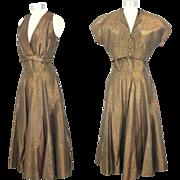 Vintage 1950s Gold Lamé Party Dress & Bolero Jacket S