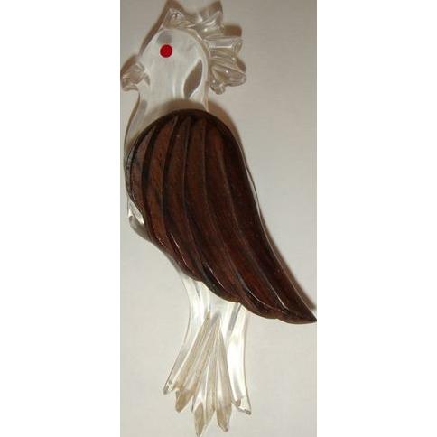 Vintage 40s Carved Wood & Lucite Cockatoo Brooch