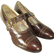 Deadstock Vintage 20s/30s Art Deco Brown Leather Porter's Brogues Pumps