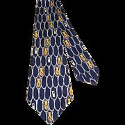 Vintage 50s Superba Silk Novelty Fish Net Print Wide Tie