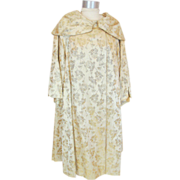 Vintage 60s Gold Silk Brocade Evening Coat Dianne Soames S
