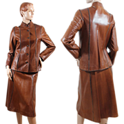 Vintage 1970s Oscar de la Renta Leather Suit XS