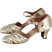 Vintage 1930s Ivory Satin Wedding or Evening Shoes 7.5N