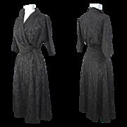 Vintage 1950s Vogue Pattern Black Moiré Faille Dress XS/S