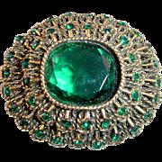 "Vintage ""Vogue"" Emerald Green Rhinestone Brooch or Pendant"