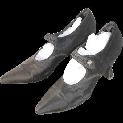 Circa.1920 Black Silk Evening Shoes w/Beaded Straps