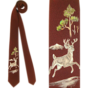 Vintage 50s Handpainted Skinny Tie w/Leaping Stag Design