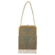 Antique French Steel Beaded Purse in Blue, Gold & Silver