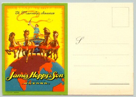 ca. 1920: Attractive advertising Postcard: John Hopps & Son: Marsalla Classico