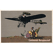 Continental Advertising Postcard with Airplane
