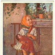 Girl with Doll. Vintage postcard after a Painting by Suess.