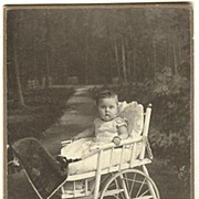 Baby in unusual Wheel Chair. Cabinet Photo from 1910, Poland