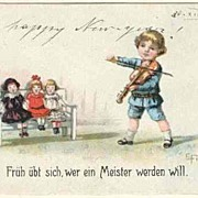 Vintage Postcard Boy performing Music for Dolls. 1919