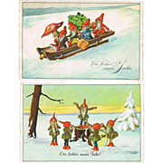 Two Vintage Postcards with Dwarfs 1925