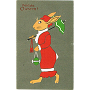 Happy Easter! Lithographed Art Deco Postcard.