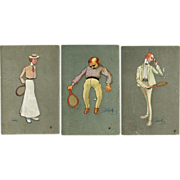 Set of 3 Tennis Motif Postcards 1904