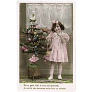 Xmas Postcard Girl with Doll 1909