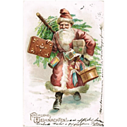 Santa bringing Gifts. Vintage Postcard from 1904