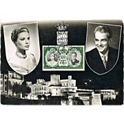 Grace Kelly and Prince Rainier Wedding 1956 Postcard with Stamp.