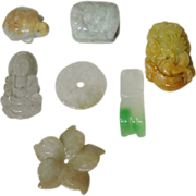 7 Hardstone Beads Chinese Jade and Jadeite