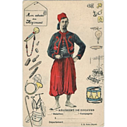 Vintage postcard of French Mercanery Soldier, Zouave.