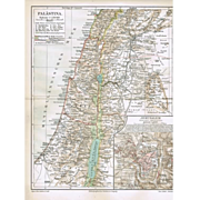 2 old Maps Jerusalem and Palestine 1900