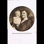 Empress Zita with Archduke Felix, her Son. Vintage Postcard