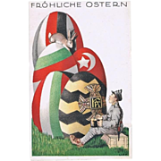 Happy Easter. Litho Postcard WWI