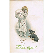 Girl with Dachshund. Old Easter Postcard.