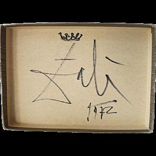 Salvatore Dali Artwork: Box Top with Crown and Signature 1972 CoA