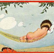 Cupid taking a Rest: Cute Vintage Postcard, Artist signed