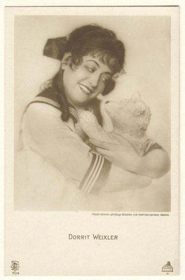 Actress with her Teddy Bear. Vintage Photo Postcard.