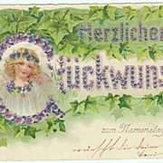 All Saints Day Greeting Postcard from 1906