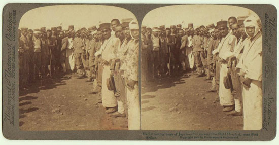 Japanese Soldiers after an Assault. Stereo Photo 1904