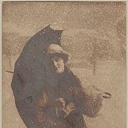 Happy New Year. Vintage Postcard Lady with Pig.