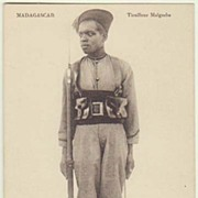 Madagascar: Vintage Postcard of Soldier. App. 1910
