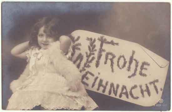 Merry Xmas: Photo Postcard little Girl as Angel. 1906