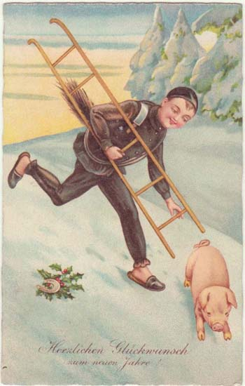 Happy New Year; Vintage Postcard Chimney Sweeper and Pig.