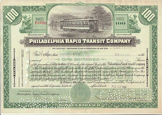 Philadelphia Rapid Transit Company. Old Stock Certificate with Tram.