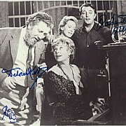 Sir Peter Ustinov, Robert Mitchum and Deborah Kerr. 3 Autographs on 1 Photo. CoA