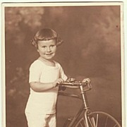 Little Girl with her Bicycle: Old Studio-Photo, app. 1910