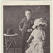 Lilliputian Couple. Vintage Postcard from 1912.