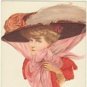 Art Nouveau Postcard: Lady with Hat. Fine Lithograph.