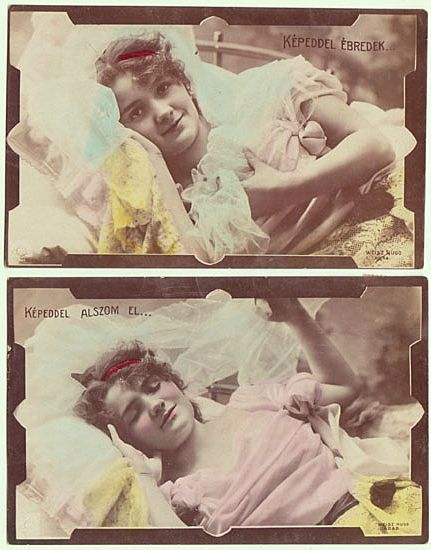 Pair of  Photo Postcards with Pretty Lady. 1907