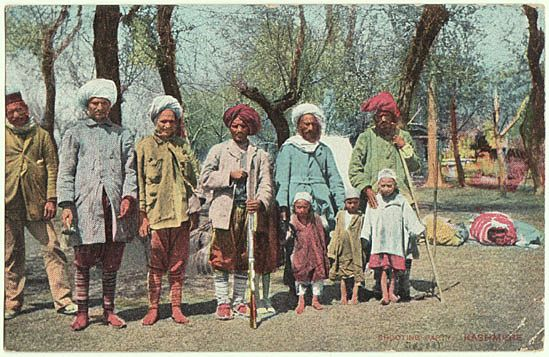 Shooting Party. Kashmir. Color Postcard with Warriors.