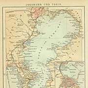 Yokohama and Tokyo: Old Map from 1899