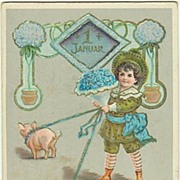 New Year Postcard, Boy with Pigs, 1908