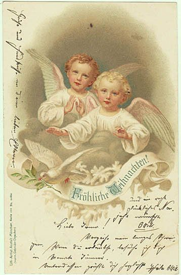 Xmas Postcards with 2 Angles. Litho 1900